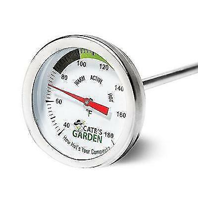 Compost Thermometer - Cate's Garden Premium Stainless Steel Bimetal Thermometer