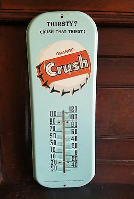 1950's Orange Crush thermometer sign. 16inx6in. works! clean!