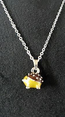 """Hedgehog Necklace, Pendant Very Cute 18"""" Chain"""