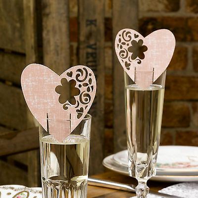10 Pink HEART WINE GLASS Wedding Table PLACE CARDS Name Setting WITH LOVE Party