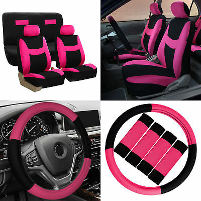 Car Seat Covers Pink Black 14pc Set for Auto w/Steering Wheel/Belt Pad/Head Rest