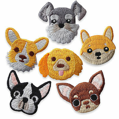 Cute Dogs Chuwawa Bulldog Iron Sew on Appliques Embroidered Patches Craft