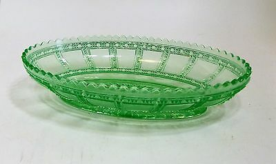 Vintage Imperial Glass Green Beaded Block Oval Celery Serving Bowl Dish, Rare