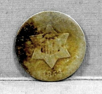US Coin 1853 3 Cent 750 Silver ASW 0.0193