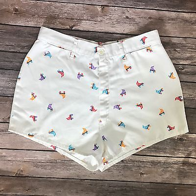 VTG 80s Womens Shorts Size 13 White Purple Orange Red Roller Skates High Waist