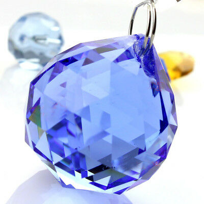 Blue Crystal Sphere - Feng Shui Hanging Crystal Sun Catcher Prism Rainbow 40 mm