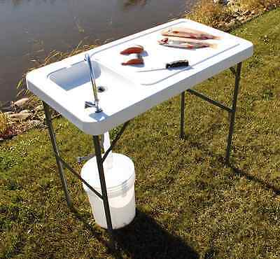 Portable Cleaning Fish Table Folding Fishing Camping Hunting Sink Faucet Outdoor