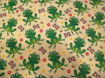 Discount Fabric Cozy Cotton Flannel Green Frogs and Dragonflies K409