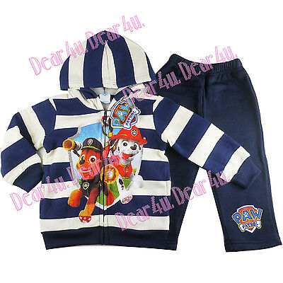 Paw Patrol rescue boys kids tracksuits zip fleece Navy stripe outfit size 2-5