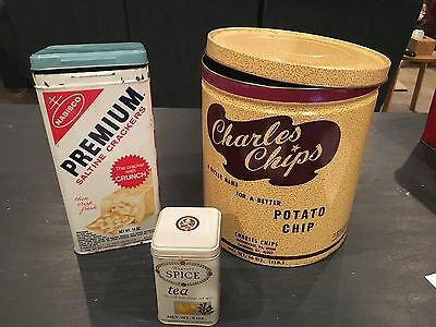 Lot Of 3 Vintage Tin Cans - Charles Chips, Saltines, Etc