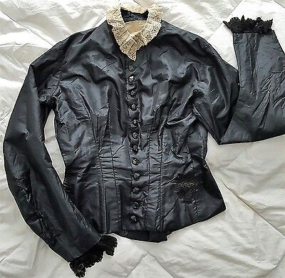 1880 Victorian Black Silk Bodice/Dress Top Antique Jet Carved Buttons/Lace