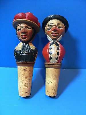 2 Hand Carved Wood Bottle Stoppers Man  & Woman Anri? Not Mechanical