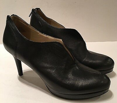 Nine West Woman's Boots Nw7alarie Black Leather Zip Ankle Booties Sz 8.5