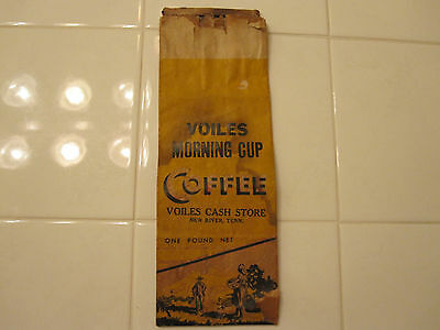 Vintage NEW RIVER Tennessee COFFEE Paper Bag Advertising VOILES General STORE