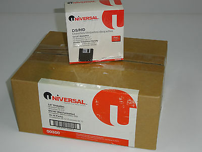 """1 case 110 pack Universal 3.5"""" Diskettes 1.44MB DS/HD IBM-Formatted floppy disks"""