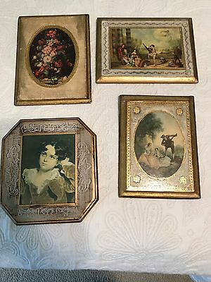 Vtg Florentine Toleware Wall Plaque Picture Italy Gold Foil Gilt Wood Lot of 3