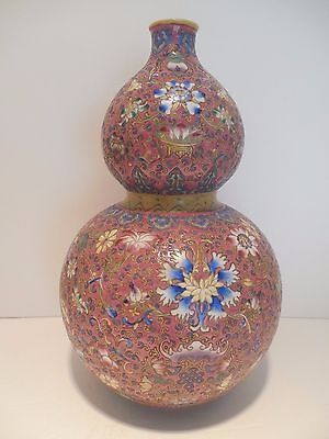 Vintage Large Chinese Double Gourd Bulbous Hand Painted Vase Urn Flowers