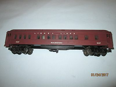 Lionel Lines #2627 Madison Heavyweight Passenger Car. EX+ Nicely Restored
