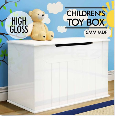 High Gloss Toy Box Storage Chest Nursery Blankets Books Childrens Clothes White