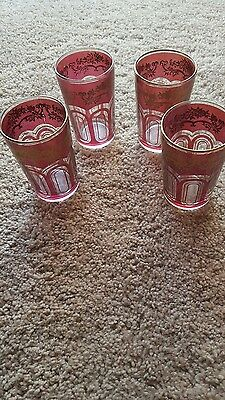4 Hand Painted 14K Victorian  Art Deco  Rose Pink Tumblers   Drinking Glasses