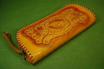 Super Nice Vintage Tooled Leather Clutch Wallet With Zipper & Handle