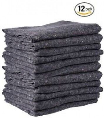 Moving Blankets 12 Pack Furniture Pads Professional Quality Textile Skins Grey