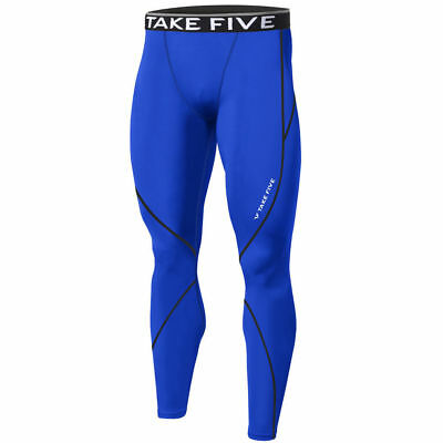 New Mens Compression Base Layer Pants + Top Armour Shirt Skin Gear Set Blue
