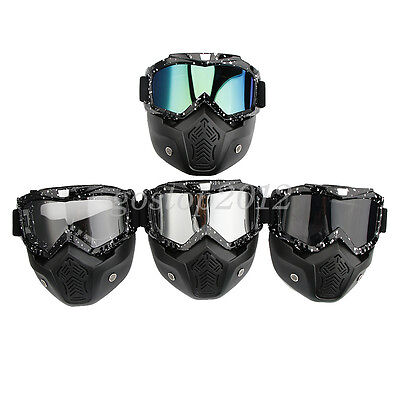Motorcycle Motocross Helmet Face Mask Goggles Glasses Anti-UV Dust Detachable