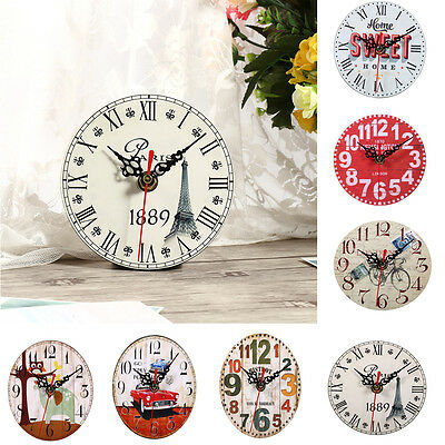 Vintage Retro Rustic Wooden Wall Clock Antique Shabby Chic Clock Home Kitchen MF