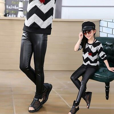 3-12Y Kids Girls Toddlers Stretchy Leggings Baby Kids PU Leather Pants Trousers