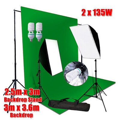 3x3.6m Green Screen Studio Softbox Lighting Soft Box Light Backdrop Stand Kit