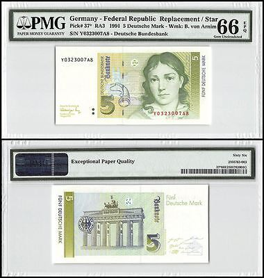 Germany 5 Deutsche Mark, 1991, P-37,UNC,B. von Arnim,Replacement/Star,PMG 66 EPQ