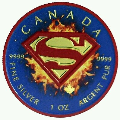 2016 1 Oz Canadian Silver Superman Coin .9999 Blue Shield 24K Gold Gilded..