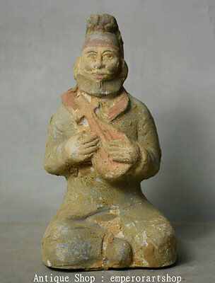 "6"" Chinese Tang SanCai Porcelain Pottery Man People Play Music Statue Sculpture"