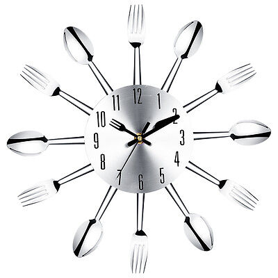 Stainless steel knife and fork spoon kitchen restaurant wall clock Home Dec@N0Q2