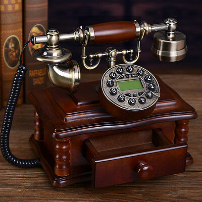 Metal Wood box simple retro European Antique Vintage home corded telephone F045