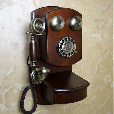Luxury retro European Antique Vintage phone Wood Wall hanging telephone F051