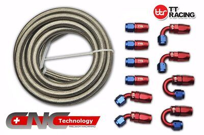 AN6 Stainless Steel Braided Fuel Line 20FT 6M Fitting Hose End Adaptor Kit
