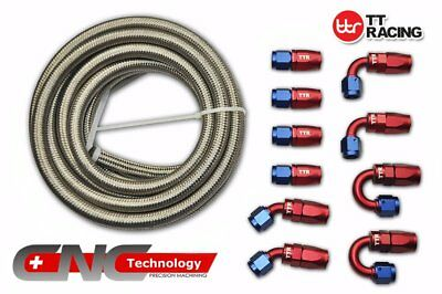 8 AN 6M 20FT Stainless Steel Braided Oil Fuel Line & Fitting Hose Adaptor Kit