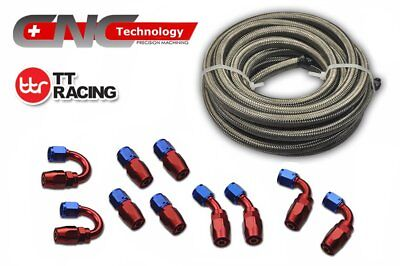 4 AN 6M 20FT Stainless Steel Braided Oil Fuel Line & Fitting Hose Adaptor Kit