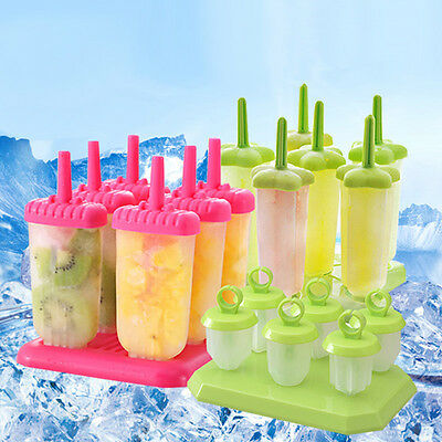 2/4/6/8 Cell Pop Mold Popsicle Maker Lolly Tray Pan Frozen Ice Cream Mould DIY