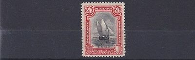 Malta  1926 - 27  S G 169  2/6  Black & Vermillion  Lmh