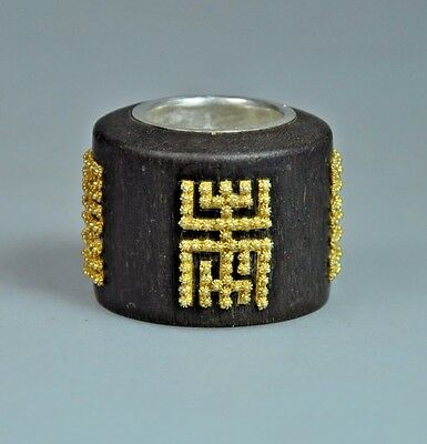 Antique Chinese China Qing Agarwood Chen Xiang Archer Thumb Ring Gold 1900