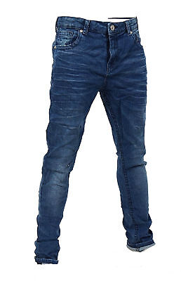 New Branded Boys Skinny Jeans Designer Blue Wash Slim Leg Age 3 - 12