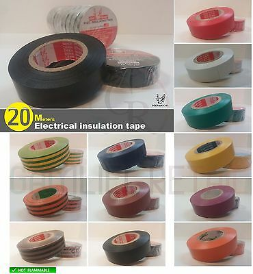 "Adhesive Electrical insulating tape PVC ROLL 19X20M 3/4""X66FT FLAME RESISTANCE ↯"