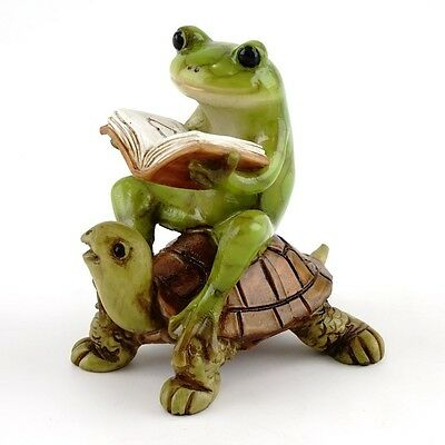Fairy Garden Frog On Turtle Statue Frogs Statues Amphibians Figurine Home Decor