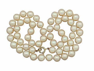 Vintage Single Strand Cultured Pearl Necklace with 18k Yellow Gold Clasp