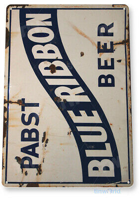 "TIN SIGN ""Pabst Blue Ribbon Beer"" Metal Art Store Pub Draft Brew Shop Bar A549"