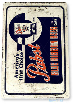 "TIN SIGN ""Pabst Blue Ribbon Can Beer"" Metal Art Store Pub Brew Shop Bar Pub A551"