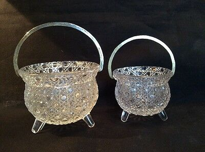 Pair Of Antique Pressed Glass Three Toed Cauldrons With Handles